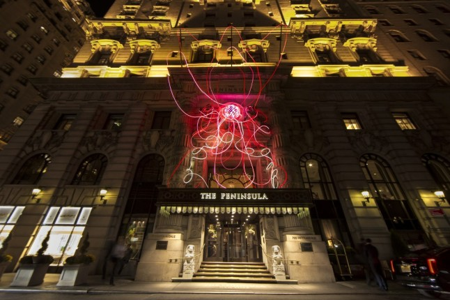 PINK LOTUS, a large-scale light installation sculpture by noted interdisciplinary Peruvian artist, Grimanesa Amorós, in honor of Breast Cancer Awareness Month.