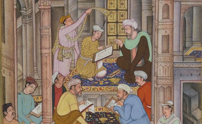 A detail of a 16th-century watercolour painting from what is now Pakistan showing a six men working in the palace of a Mughal emperor.