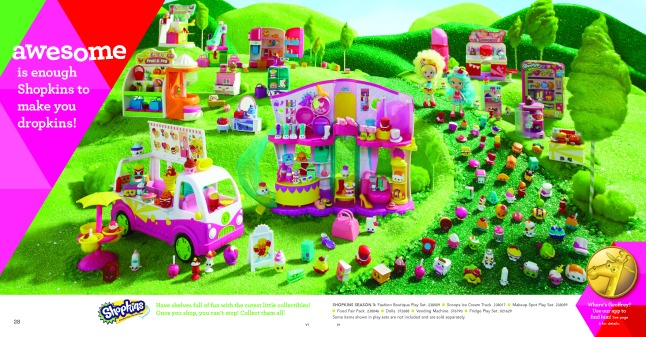 SHOPKINS: This is one of eight spreads within The Great Big Toys'R'Us Book of Awesome that has interactive capabilities with the company's all-new app, The Geoffrey Shuffle