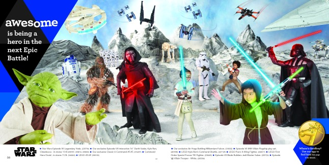 STAR WARS: This is one of eight spreads within The Great Big Toys'R'Us Book of Awesome that has interactive capabilities with the company's all-new app, The Geoffrey Shuffle