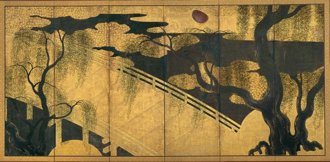 Willows and Bridge, Japan, Momoyama period (1573–1615) Pair of six-panel folding screens; ink, color, gold, and copper on gilded paper. Each 67 x 136 in. (170.2 x 345.4 cm) The Metropolitan Museum of Art, Mary Griggs Burke Collection, Gift of The Mary and Jackson Burke Foundation, 2015. Photo: Courtesy of The Metropolitan Museum of Art