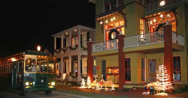 Winterfest Trolley touring Downtown Pensacola's Christmas Lights