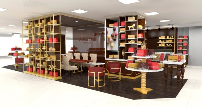 Rendering of new GODIVA boutique at Macy's Herald Square (PRNewsFoto/GODIVA Chocolatier)