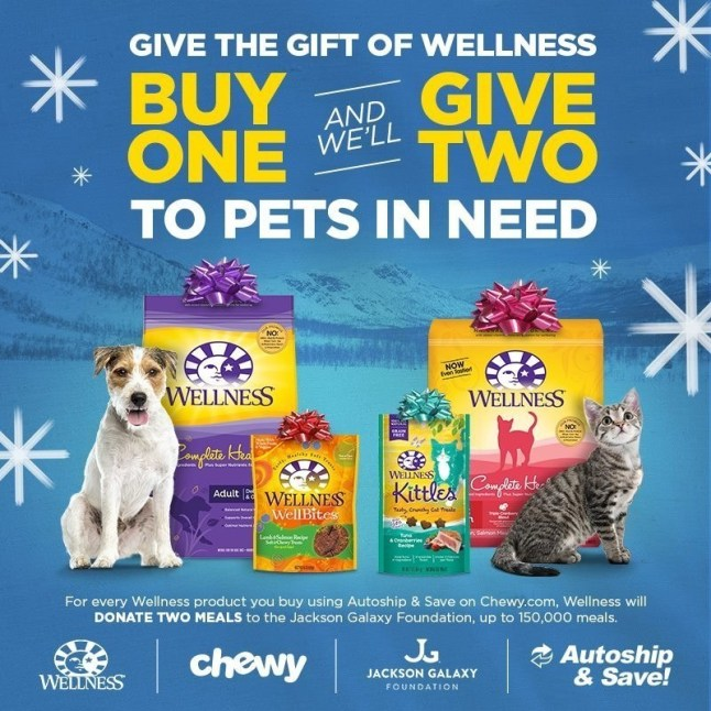 Wellness Natural Pet Food and the Jackson Galaxy FoundationGive the Gift of Wellness to Shelter Pets (PRNewsFoto/Wellness Natural Pet Food)