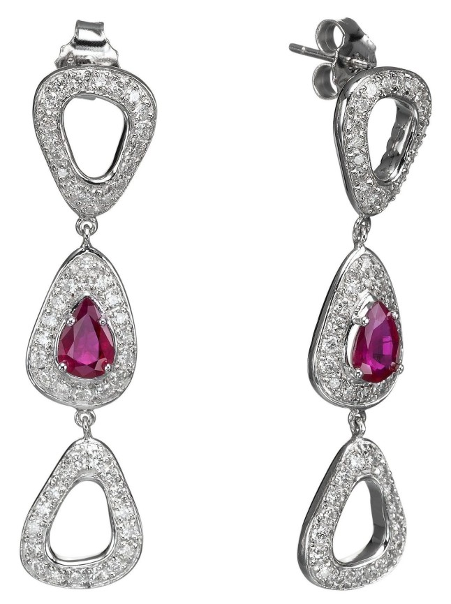 Cyber Monday Diamond Deals from Israel offer specially picked diamonds and diamond jewelry at great prices. These unique earrings by Aradama, with diamonds and rubies in 18 k gold, sell on the site for $7,840 instead of $9,800 (PRNewsFoto/Israel Diamond Institute Group)