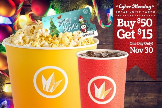 Regal Entertainment Group announces Cyber Monday eGift Card offer: Buy $50 in eGift Cards and receive a $15 ePromotional Concessions Card for free. Source: Regal Entertainment Group. (PRNewsFoto/Regal Entertainment Group)