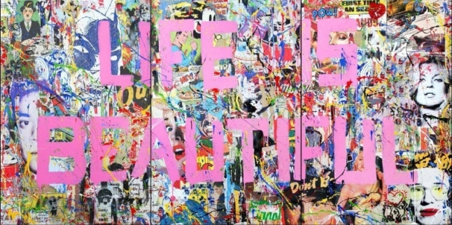 Mr. Brainwash (B. 1966 - ); Life is Beautiful Mural, 2015; Mixed Media on Canvas; 72 x 144 inches (PRNewsFoto/Contessa Gallery)