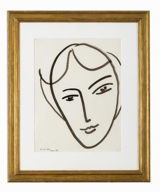 Auctionata,'100 Masterworks', Lot 97 - Henri Matisse, Tête de jeune fille, Ink brush, 1950