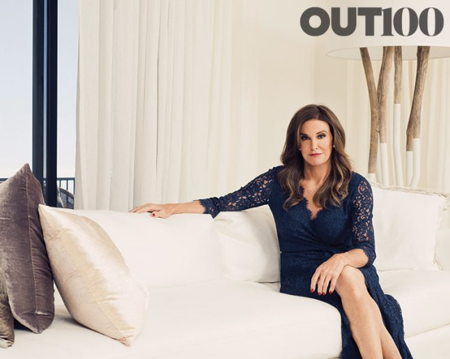 Newsmaker of the Year: Caitlyn Jenner (http://www.out.com/out100-2015/2015/11/09/out100-caitlyn-jenner-newsmaker-year)  Photography by Ryan Pfluger at her home in Malibu, Calif., on September 26, 2015. Styling by Grant Woolhead. Hair: Courtney Nanson. Makeup: Kip Zachary at Cloutier Remix. Dress by Diane Von Furstenberg.