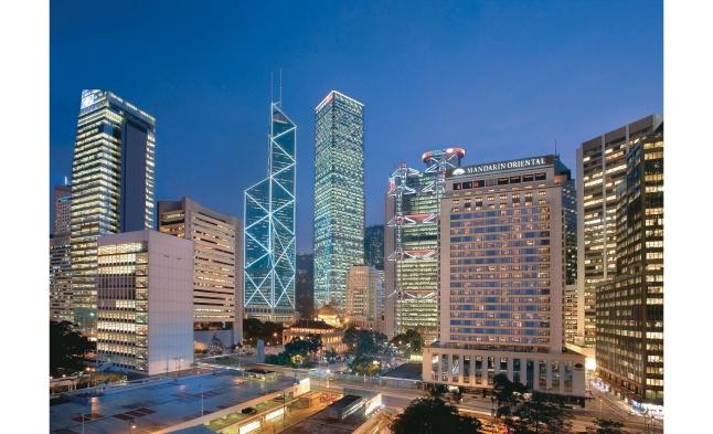 Night exterior view of the Mandarin Oriental, Hong Kong