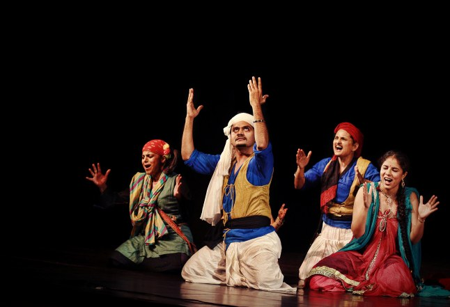 The company of the Company Theatre of Mumbai's Piya Behrupiya, a Hindi version of Twelfth Night, featured at Chicago Shakespeare Theater as part of Shakespeare 400 Chicago. Photo courtesy of Company Theatre.