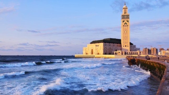 Hassan II Mosque during the sunset in Casablanca, Morocco, Africa; Shutterstock ID 153526718; Client: Four Seasons Hotels and Resorts; Job: Four Seasons Image Library; Project: Casablanca Images for FS Library