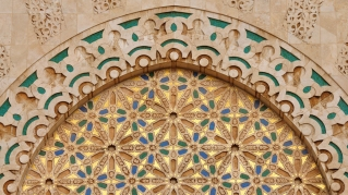 Detail of Hassan II Mosque in Casablanca, Morocco.