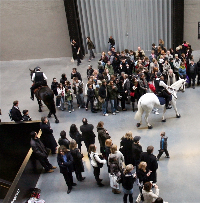 Tania Bruguera Tatlin's Whisper #5, 2008 Mounted police, crowd control techniques, audience, overall dimensions variable Installation view: UBS Openings: Live the Living Currency, Tate Modern, London, 2008 Photo: Sheila Burnet Courtesy the artist