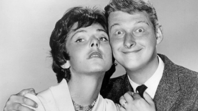 The comedy duo Nichols and May (Elaine May at left, Mike Nichols at right).