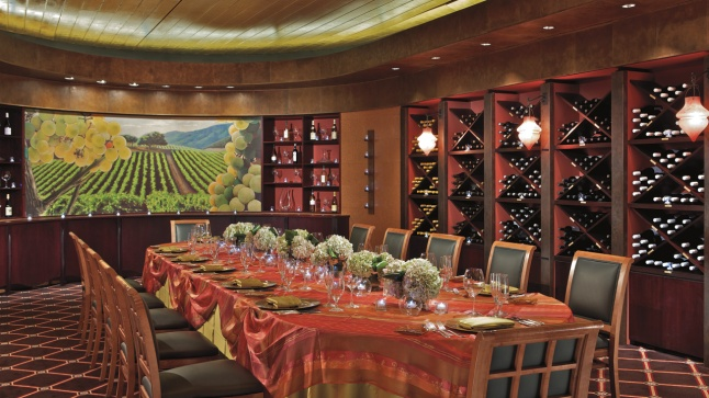 The warm, Tuscan-inspired setting of The Wine Room is the perfect place for an intimate affair.