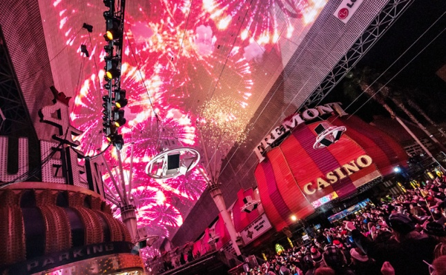 Fremont Street on New Year's Eve is a one-of-a-kind spectacle.