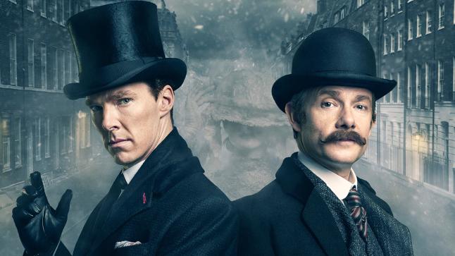 "MASTERPIECE ""Sherlock: The Abonminable Bride"" Picture Shows: John Watson (MARTIN FREEMAN), Sherlock Holmes (BENEDICT CUMBERBATCH) © Robert Viglasky/Hartswood Films and BBC Wales for BBC One and MASTERPIECE."