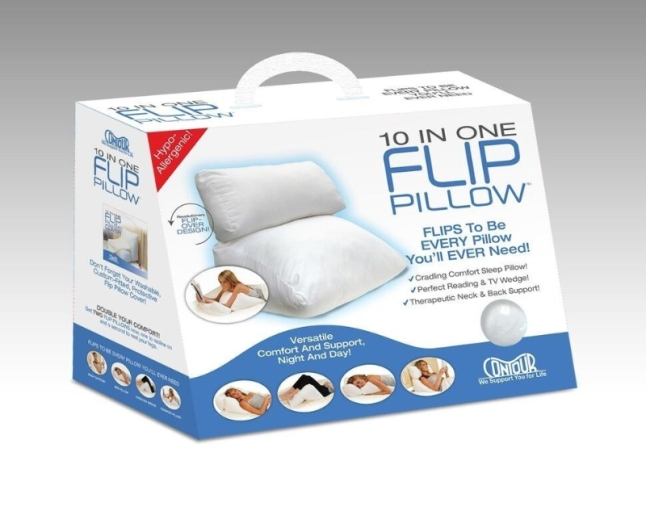 The FLIP PILLOW(TM) is the season's most ideal holiday gift as it provides comfort solutions to any age group. Its 10-in-one design offers the utmost in pillow comfort while also providing therapeutic wedge support. It gently supports the back while sitting up, soothes the lumbar while working at a desk and cradles the elbows while reading on your stomach. At night, it lets side and stomach sleepers rest without neck strain, elevates the torso for easier breathing or digestion, props up knees to ease sore back muscles or raises the feet. (PRNewsFoto/Contour Products)
