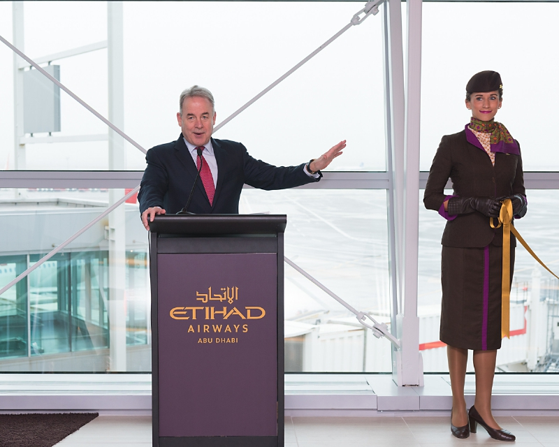 Etihad Airways President and Chief Executive Officer James Hogan at the official opening of the airline's new premium First and Business Class Lounge at New York's John F. Kennedy International Airport. (PRNewsFoto/Etihad Airways)
