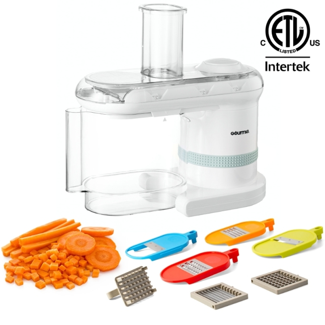 The only household electronic mandoline that not only slices, shreds, grates, and chops, but also dices - the Gourmia Power Dicer Slicer Plus. (PRNewsFoto/Gourmia)