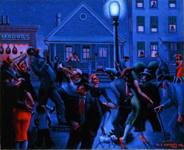 Archibald J. Motley Jr., Gettin' Religion, 1948. Oil on canvas, 40 × 48.375 inches (101.6 × 122.9 cm). (Formerly of the) Collection of Mara Motley, MD, and Valerie Gerrard Browne. Image courtesy of the Chicago History Museum, Chicago, Illinois. © Valerie Gerrard Browne.