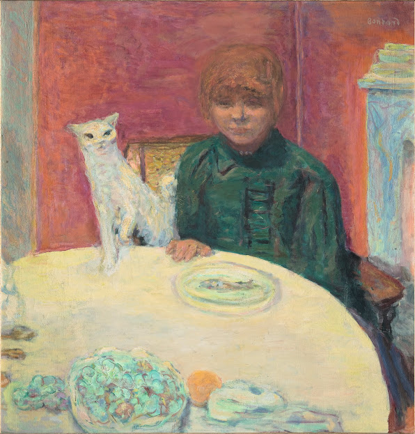 "Pierre Bonnard, ""Woman with Cat"", or ""The Demanding Cat"", ca. 1912. Oil on canvas. Musée d'Orsay, Paris; Baroness Eva Gebhard-Gourgaud Bequest, 1965, RF 1977-84"