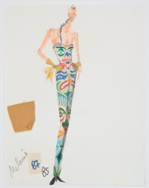 Isaac Mizrahi, sketch for Totem Pole, fall 1991. Credit: Photograph by Richard Goodbody, the Jewish Museum, New York