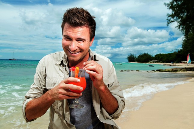 Host Jack Maxwell gets a taste of the tropics on the island of Barbados (PRNewsFoto/Travel Channel)