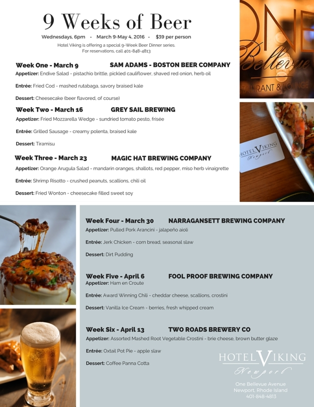 Hotel Viking craft beer dinners weeks 1-6