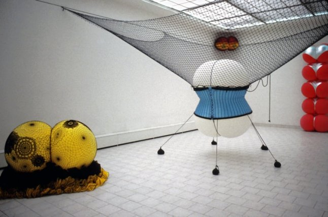 "Nancy Davidson, installation view with ""Maebe"" and ""Netella,"" Prague 1999"
