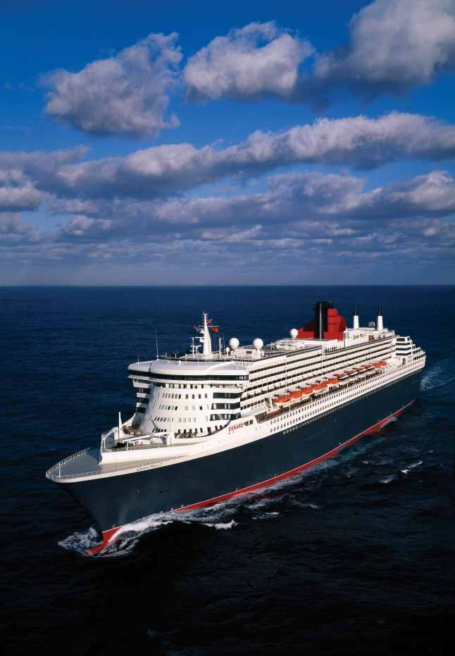 Queen Mary 2 Aerial at Sea Portside - Vertical format (Courtesy of Cunard)