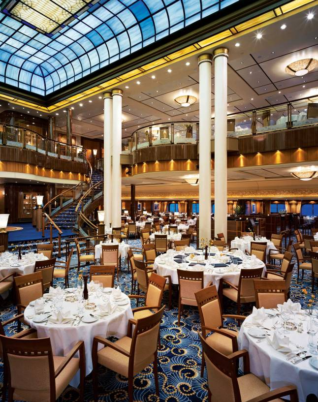 Queen Mary 2, Britannia Restaurant, Dining, Cuisine, Marble Pillars, Domed ceiling, Tables, Tapestry.