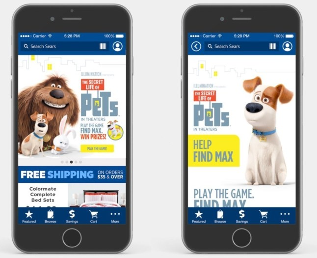 Sears Roebuck and Co The Secret Life of Pets game App