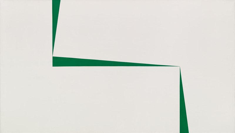 Carmen Herrera, Blanco y Verde, 1967.Acrylic on canvas, 40 × 70 in. (101.6 × 177.8 cm). Private Collection, New York. Art © Carmen Herrera