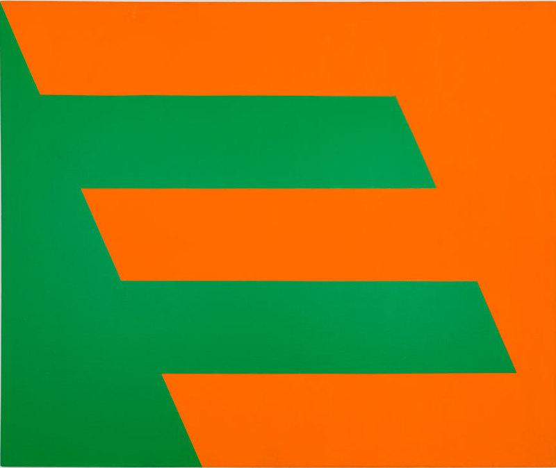 Carmen Herrera, Green and Orange, 1958. Acrylic on canvas, 60 × 72 in. (152.4 × 182.9 cm). Cejas Art Ltd. Paul and Trudy Cejas © Carmen Herrera