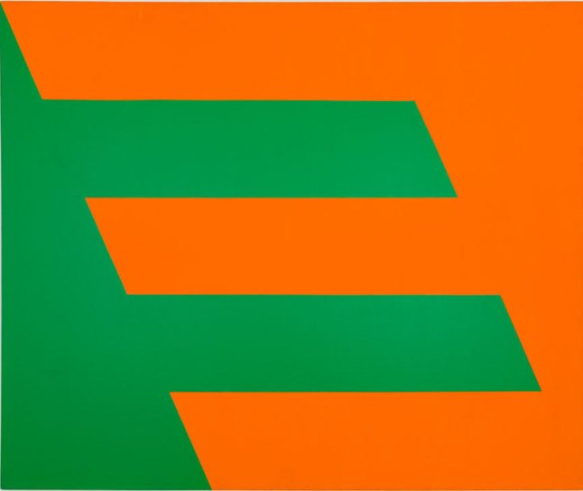Carmen Herrera, Green and Orange, 1958. Acrylic on canvas, 60 × 72 in. (152.4 × 182.9 cm). Cejas Art Ltd. Paul and Trudy Cejas © Carmen Herrera