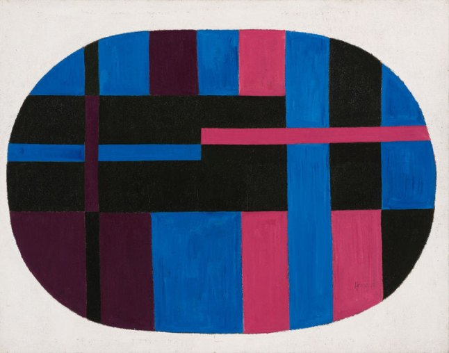 Carmen Herrera, Untitled, 1948. Acrylic on canvas, 48 × 38 in. (121.9 × 96.5 cm). Collection of Yolanda Santos. Art © Carmen Herrera