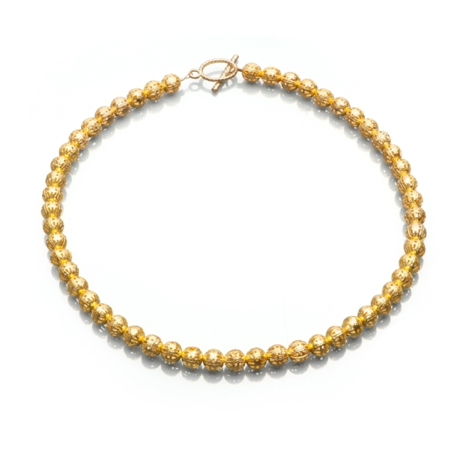 Artistic Falls - Gold Bead Necklace
