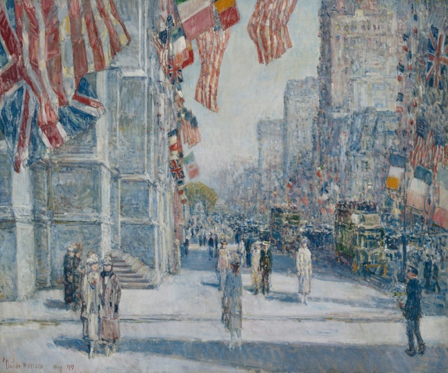 HASSAM - EARLY MORNING ON THE AVENUE - ADDISON GALLERY