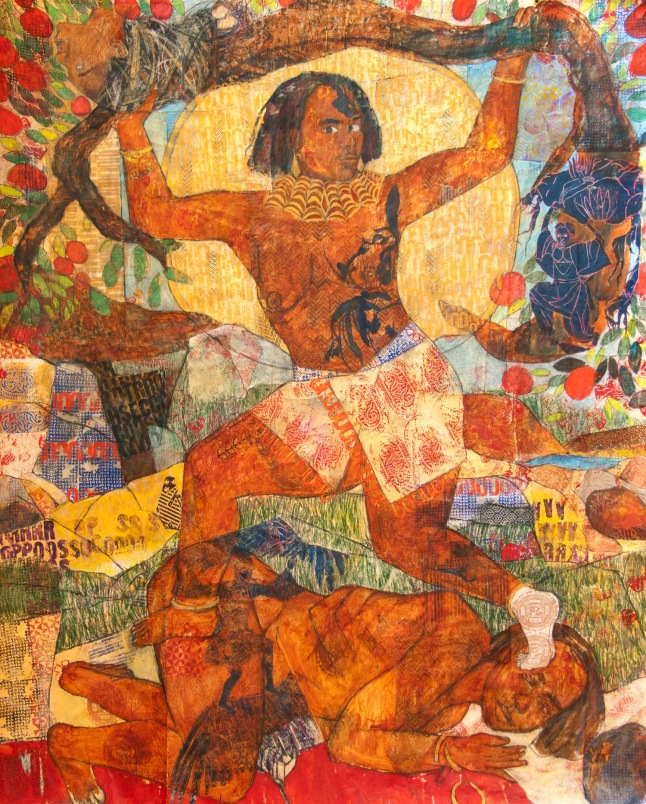 Mequitta Ahuja, Mocoonama, Acrylic, Colored Pencil and Enamel on Vellum Collage, 87X73, 2012