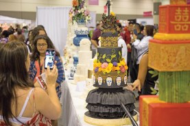 Cakes on display from the Live Global Cake and Chocolate Challenges, where international teams and individuals, respectively, battled for top honors.