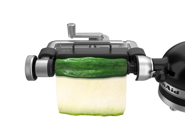 The new Vegetable Sheet Cutter attachment cuts fruits and vegetables into thin sheets for making fresh, alternative versions of everyday dishes.