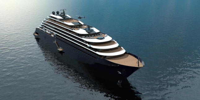 Rendering of the exterior of the one of three ships part of The Ritz-Carlton Yacht Collection 1