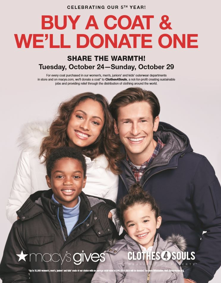 Macy_s 'Buy A Coat & We_ll Donate One' campaign in support of Clothes4Souls begins Oct. 24 (Photo Business Wire)