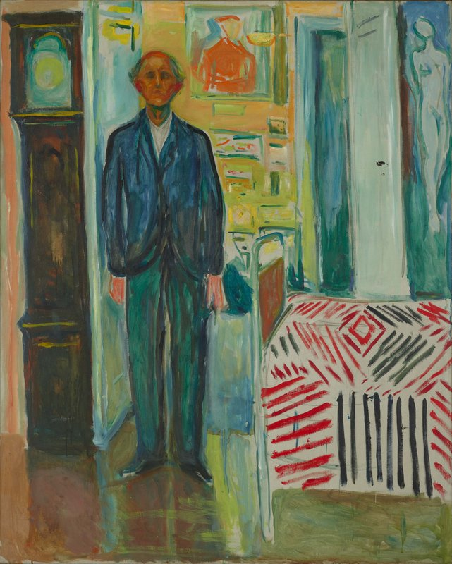 Edvard Munch, Self-Portrai - Between the Clock and the Bed, 1940–43