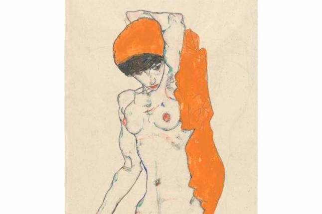 Egon Schiele (Austrian, 1890–1918). Standing Nude with Orange Drapery (detail), 1914.