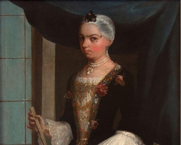 Juan Patricio Morlete Ruiz (Mexican, 1713–1772). Portrait of Doña Tomasa Durán López de Cárdenas (detail), c. 1762.