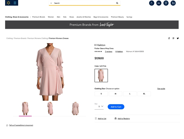 Lord & Taylor on Walmart.com Item Page