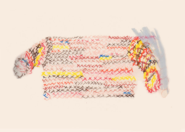 Untitled (Preparatory drawing for Possessed), 2018. Colored pencil on paper. Image courtesy the artists